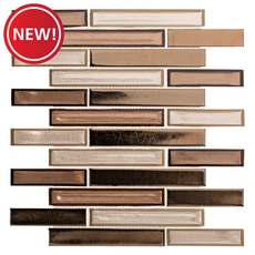 New! Montage Liquid Bronze Linear Polished Glass Mosaic