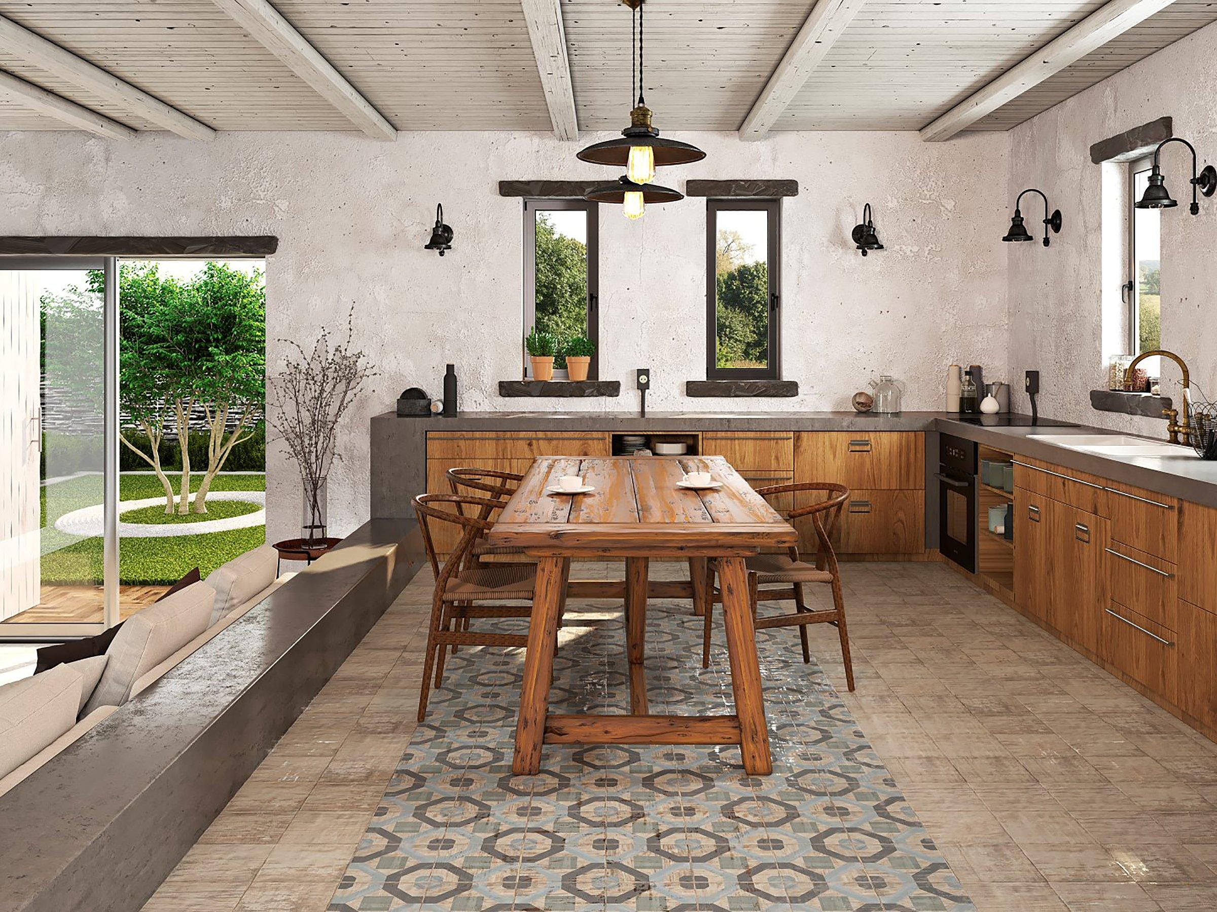 ... Rustic 6: Atlantic Matte Ceramic Tile, Mango Matte Ceramic Kitchen  Farmhouse Room ...