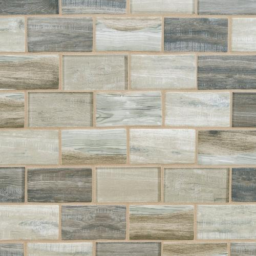 Sand Drift X In Brick Recycled Glass Mosaic X - 2 x 4 floor tiles