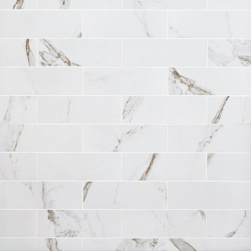 Calacatta Bianco Polished Porcelain Tile - 4 x 12 - 100465210