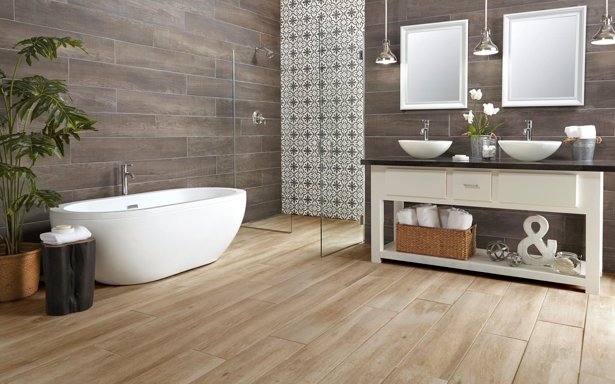 Bathroom 2 Truewood Cream Wood Plank Porcelain Tile Laguna Anthracite