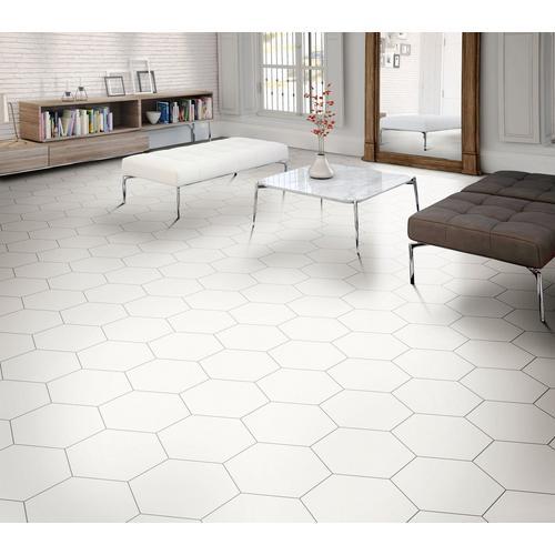 Opal White Hexagon Porcelain Tile 11 X 13 100505379 Floor And Decor