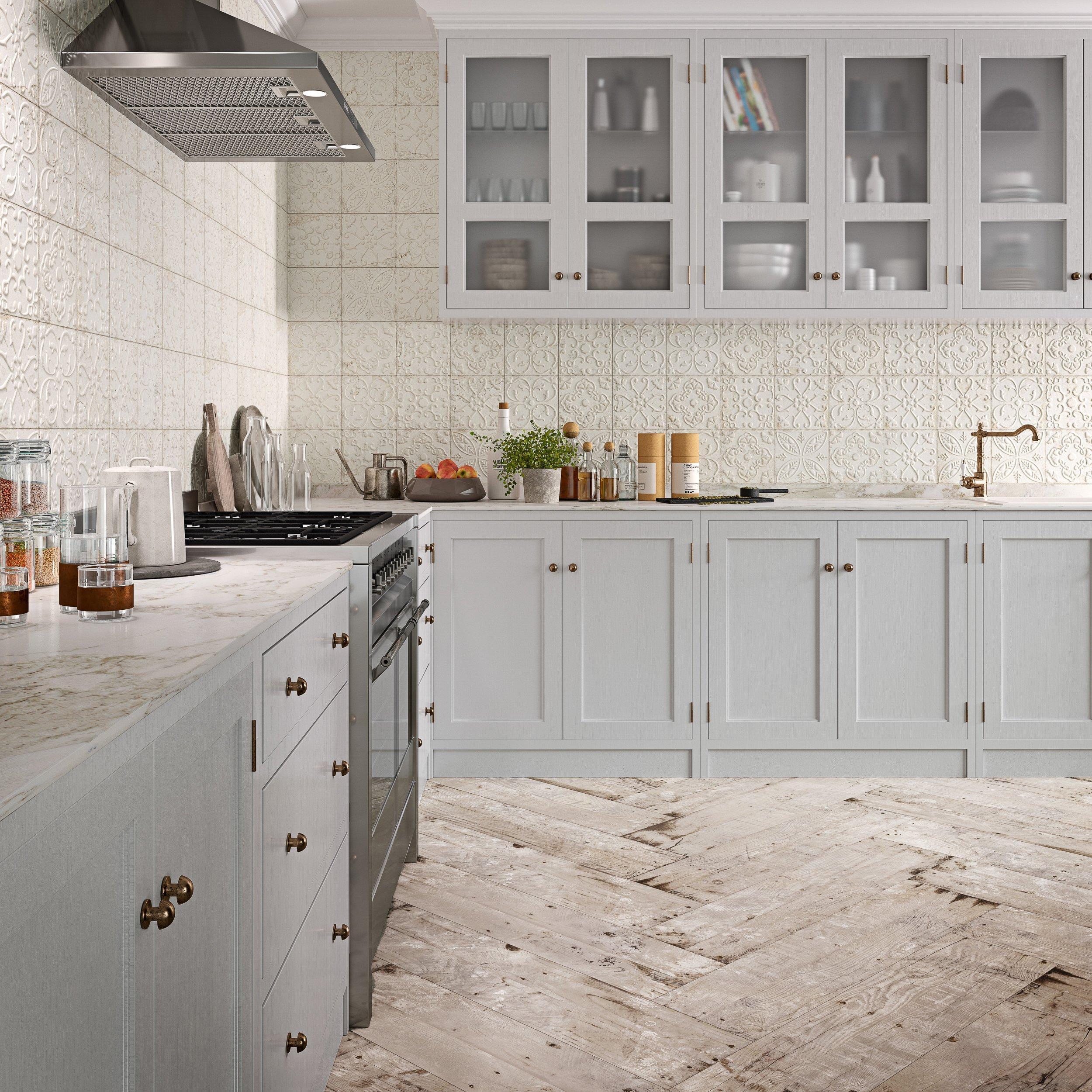 Aged White Ornato Matte Ceramic Tile 8 X 8 100566215 Floor