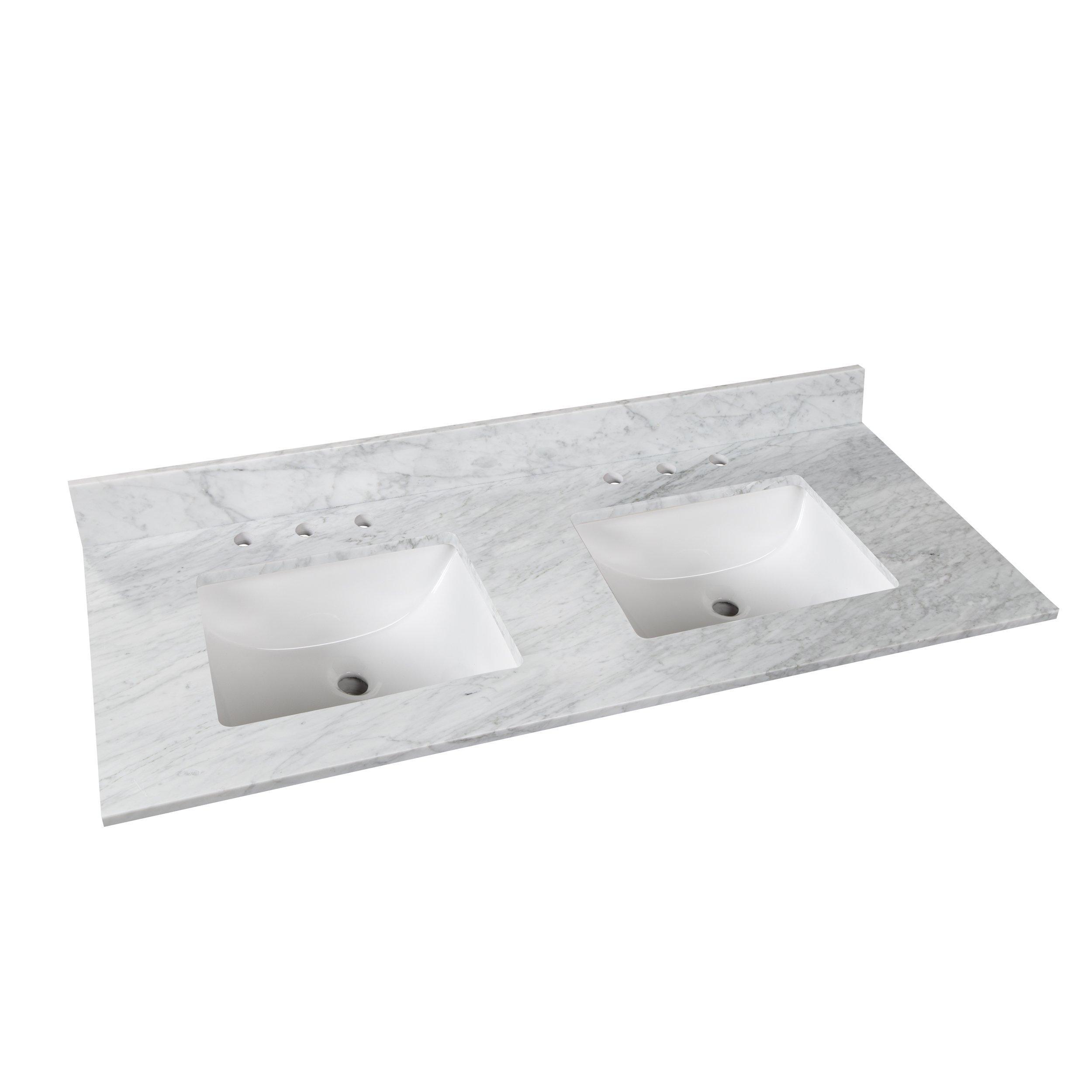 Bianco Carrara Marble 61 In Vanity Top 61in 100584192 Floor And Decor