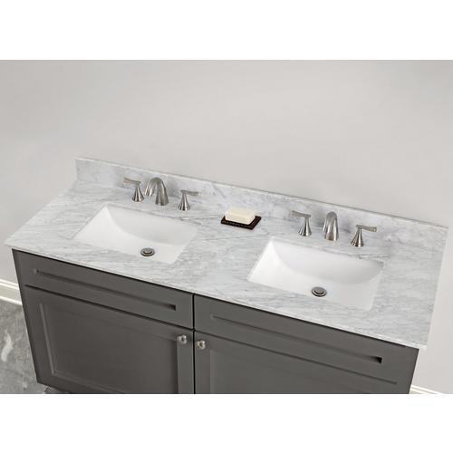 Bianco Carrara Marble 61 In Vanity Top Includes Backsplash 61in 100584192 Floor And Decor