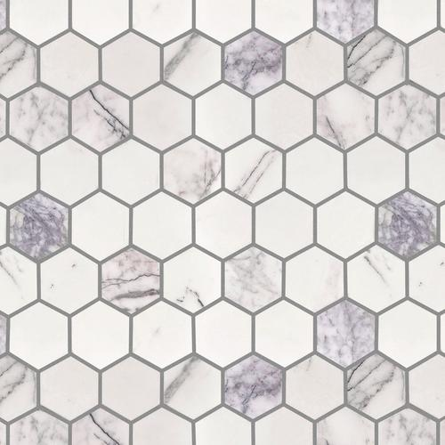 Amethyst 2 In Hexagon Polished Marble Mosaic 10 X 12 100608751 Floor And Decor