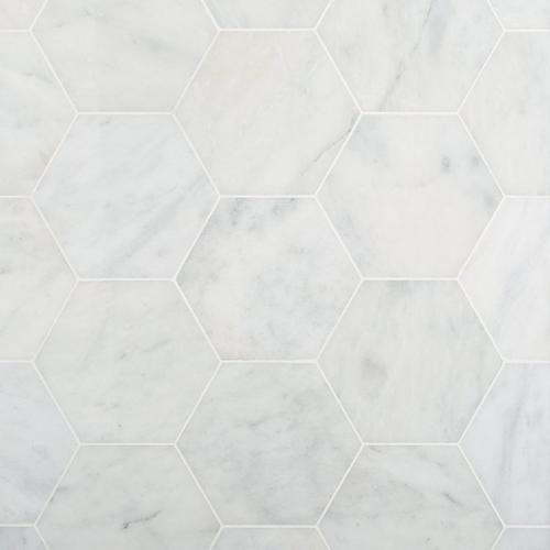 Bianco Blanco Hexagon Polished Marble Tile 10 X 12 100698232 Floor And Decor