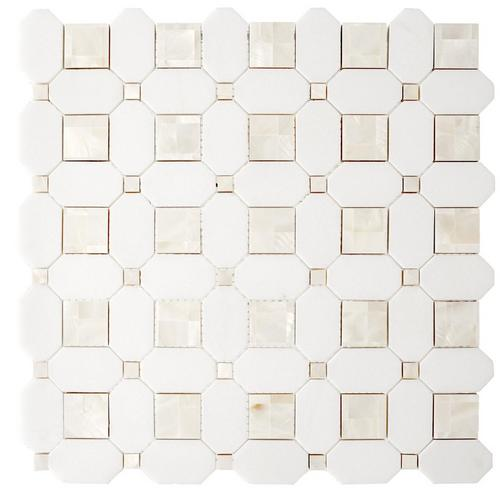 Thassos And Mother Of Pearl Ii Basket Weave Marble Mosaic 12 X 12 100780600 Floor And Decor