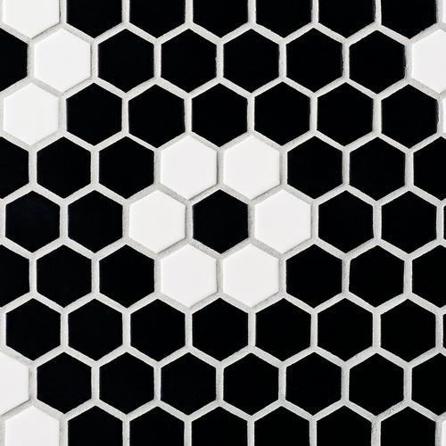 Dark Daisy 1 5 In Ceramic Hexagon Mosaic 14 X 12 100837426 Floor And Decor