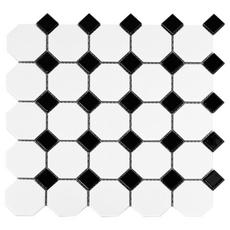 Black Dot Octagonal Porcelain Mosaic