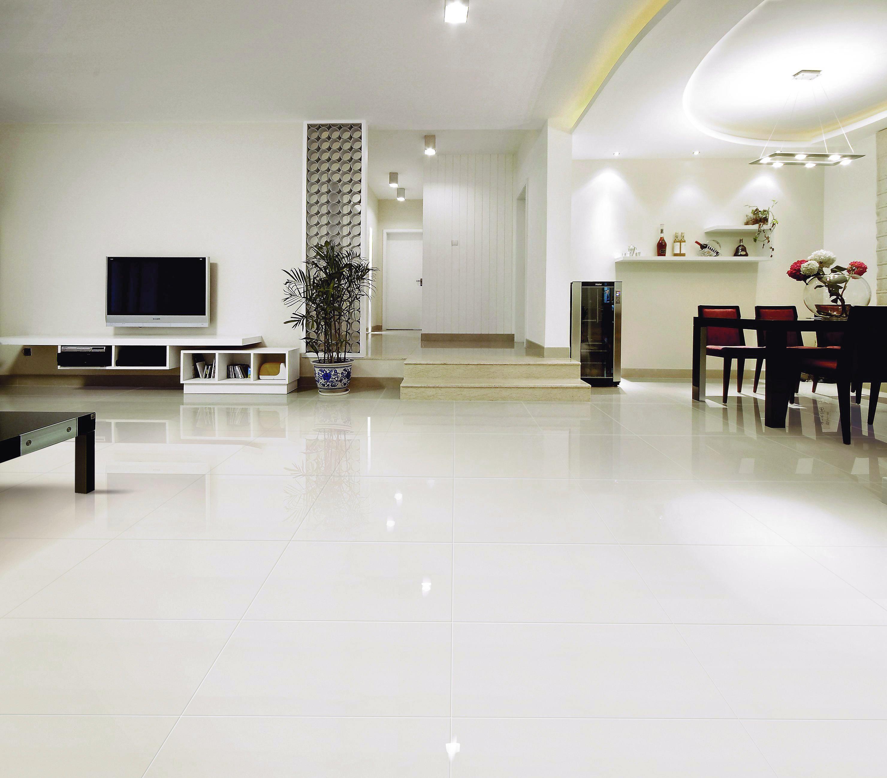 white porcelain tile floor