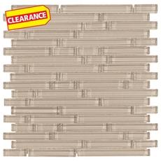 Clearance! Pure Tan Shiny Stick Glass Mosaic