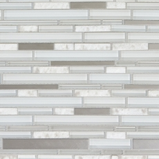 Norwegian White Linear Glass and Stone Mosaic