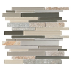 Silver Aspen Linear Glass and Stone Mosaic