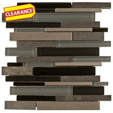 Clearance! Black Timber Linear Glass and Stone Mosaic