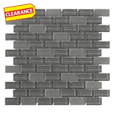 Clearance! Pure Shadow Mix Brick Glass Mosaic