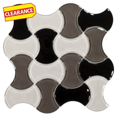 Clearance! White Black and Gray Interwoven Glass Mosaic