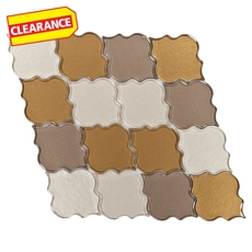 Clearance! Arabesque Brown and Green Clover Glass Mosaic