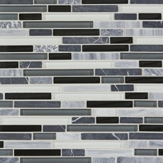 Bliss Midnight Linear Blend Glass and Stone Mosaic