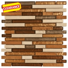Clearance! Montevideo Linear Mix Glass and Stone Mosaic