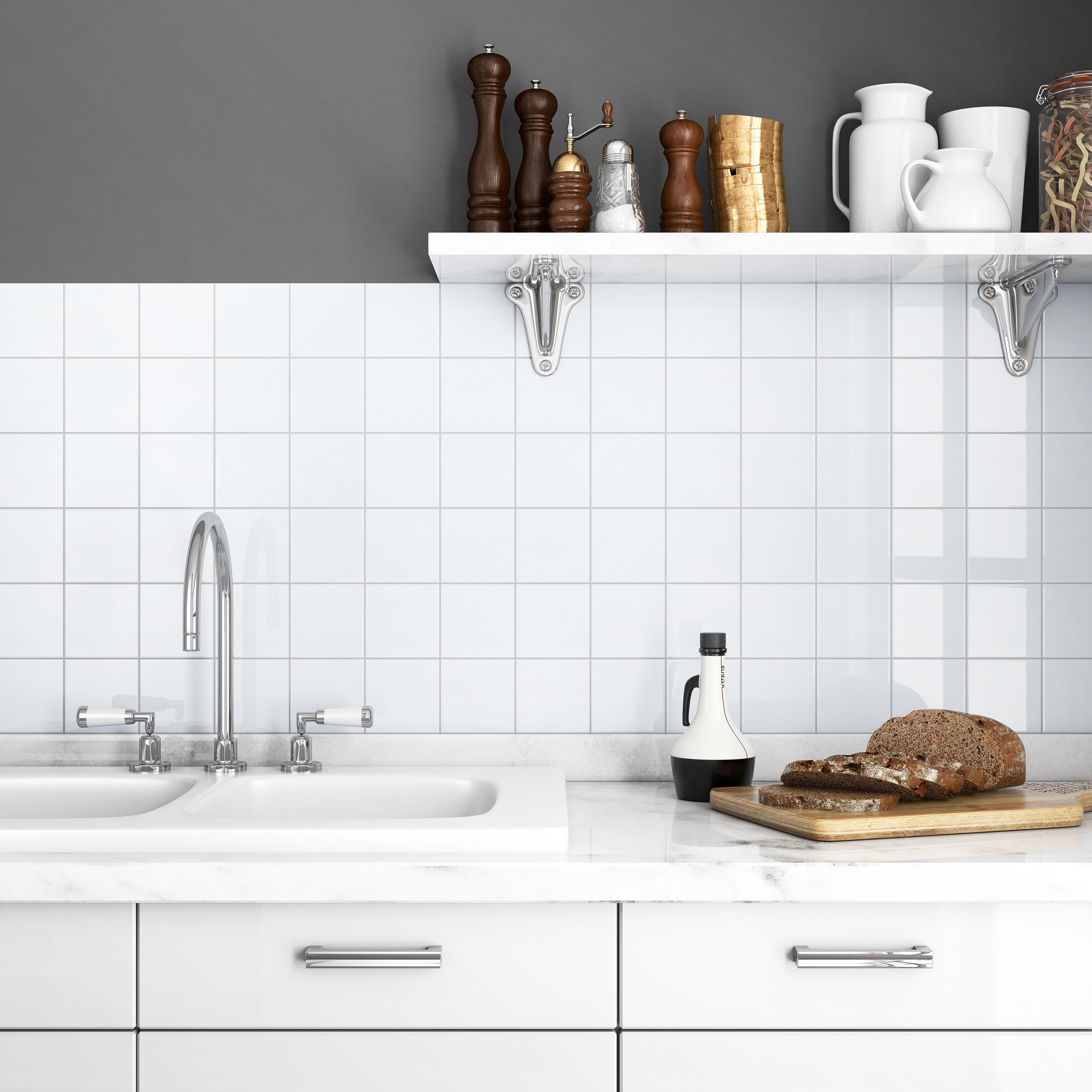 - BOX OF 80 White 4x4 Shiny Glossy Finish Ceramic Tile Backsplash