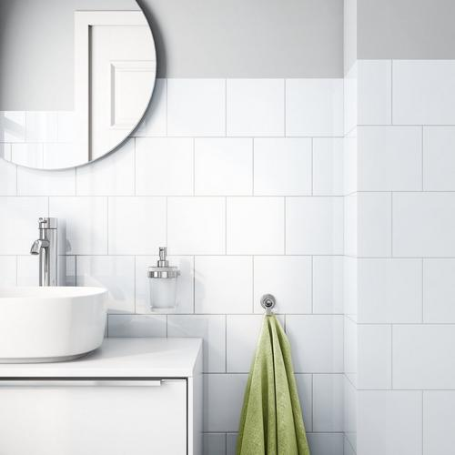 Bright White Ice Ceramic Wall Tile X Floor And Decor - White square tile bathroom
