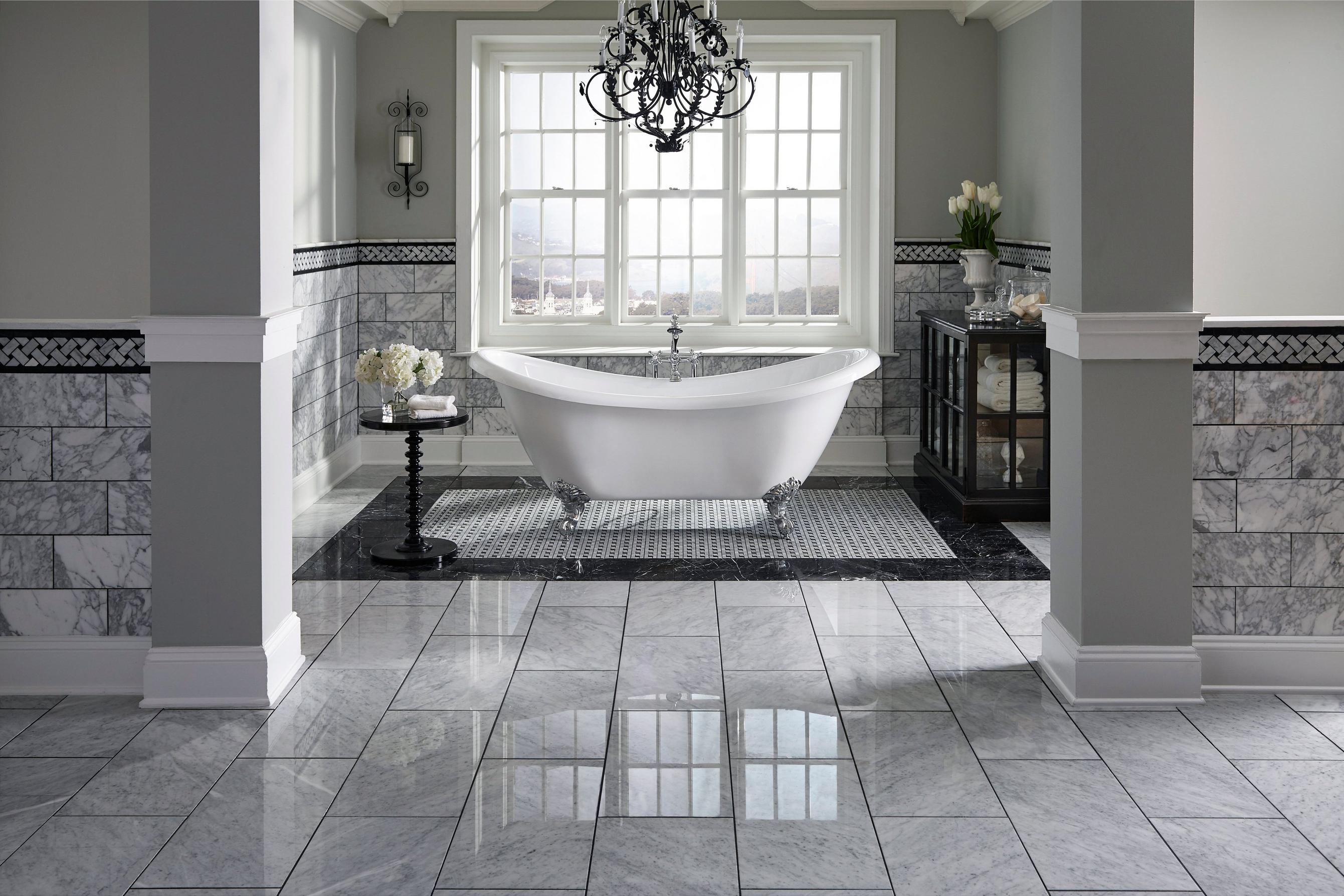 Rooms bathroom 16 nero marble tile bianco carrara polished pinwheel bath floor