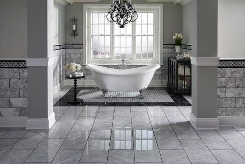 Bianco Carrara Polished Pinwheel Marble Mosaic 12 x 12 931100807