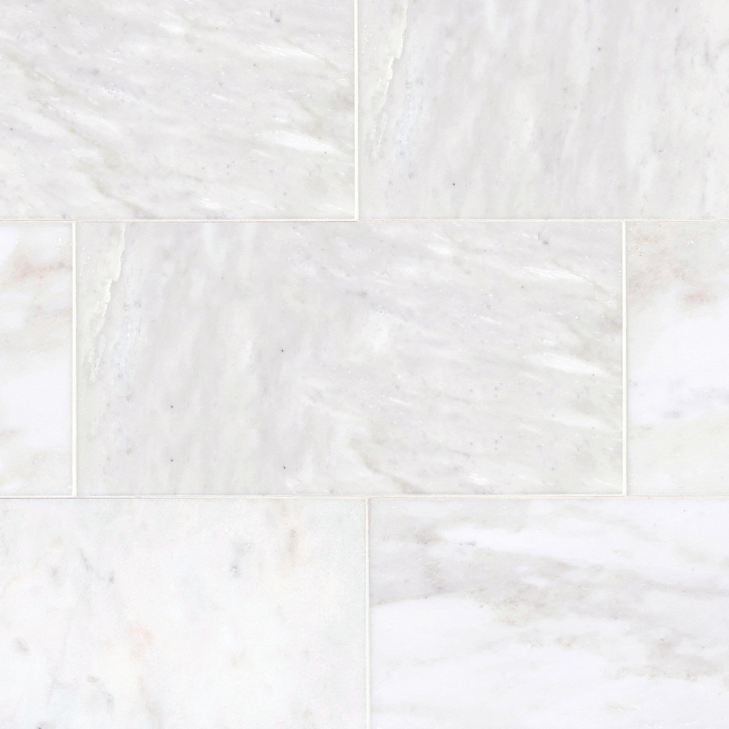 Carrara White Polished Marble Tile 12 x 24 921100409 Floor and