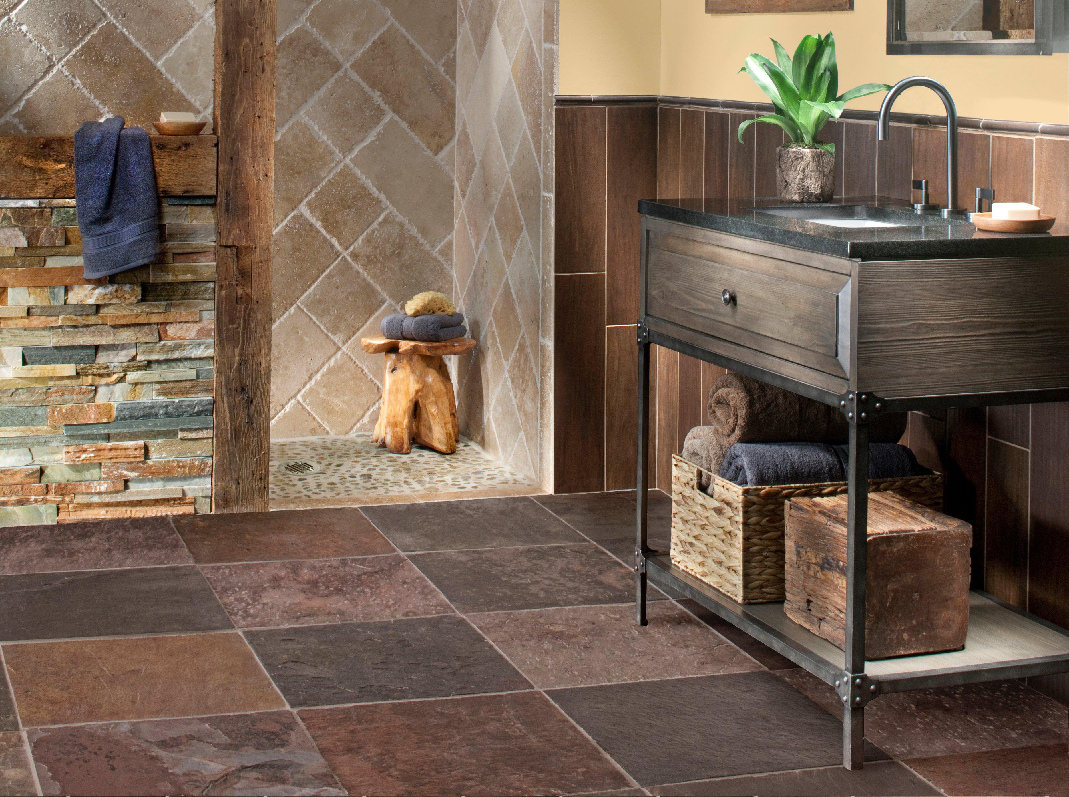 ... Rustic 2: Peacock Multicolor Slate Tile Inxin Bathroom Floor Room ...