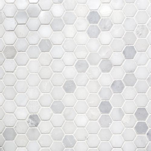 Carrara White Hexagon Marble Mosaic 12 X 12 931100239 Floor