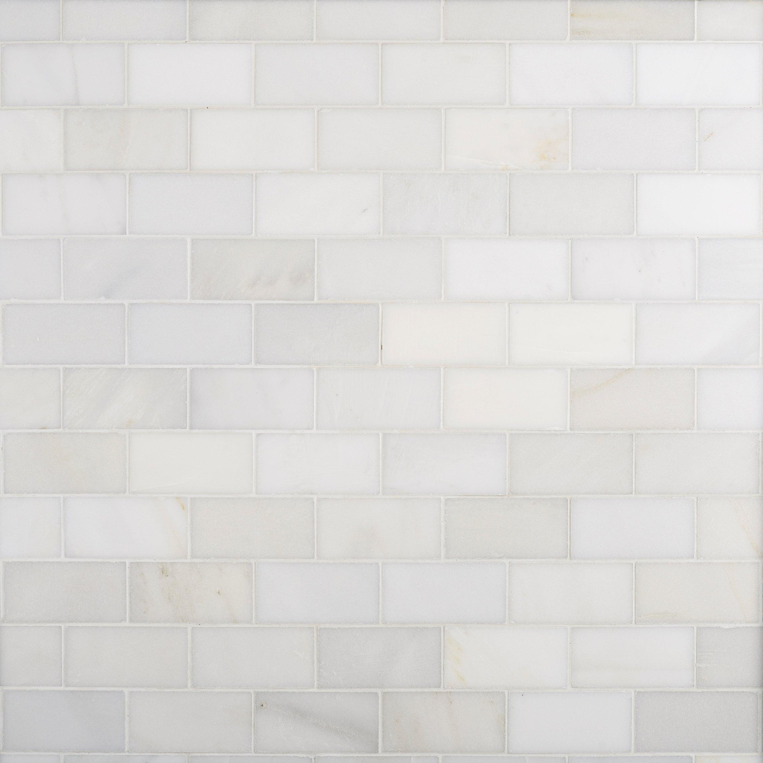 Carrara White Honed Marble Tile 3in x 6in 931100279 Floor