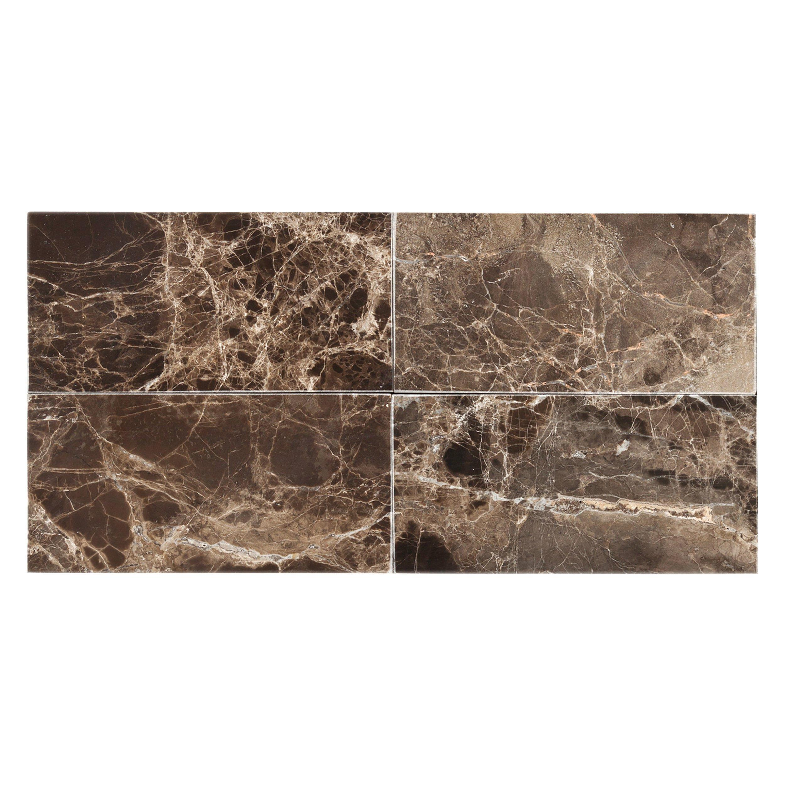 - Dark Emperador Polished Marble Wall Tile - 3 X 6 - 931100479