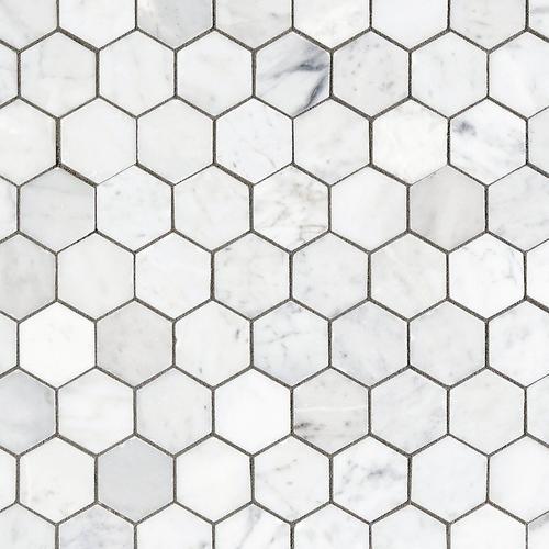 Bianco Carrara Hexagon Polished Marble Mosaic - 12 x 12 - 931100750 on hexagon floors with gray bathrooms, hexagon wall tiles, hexagon lighting design, hexagon metal design, black hex tile design, hexagon mosaic tiles, dark tile design, hexagon quilts using jelly rolls, black colour with tiles bathroom design, small bathroom interior design, river rock shower tile design,