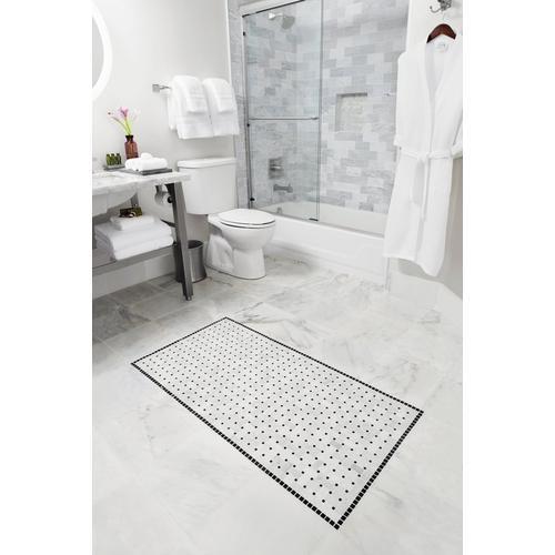 Bianco Carrara Basketweave Marble Mosaic X - Carrara basketweave tile gray dot
