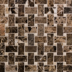 Crema Marfil and Dark Emperador Basketweave Marble Mosaic