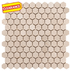 Clearance! Crema Marfil Polished Hexagon Marble Mosaic