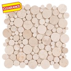 Clearance! Soho Round Crema Marfil Marble Mosaic