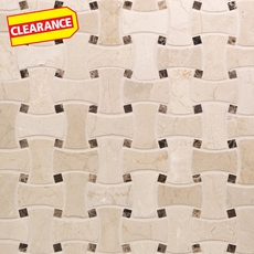 Clearance! Crema Marfil and Dark Emperador Basketweave Marble Mosaic