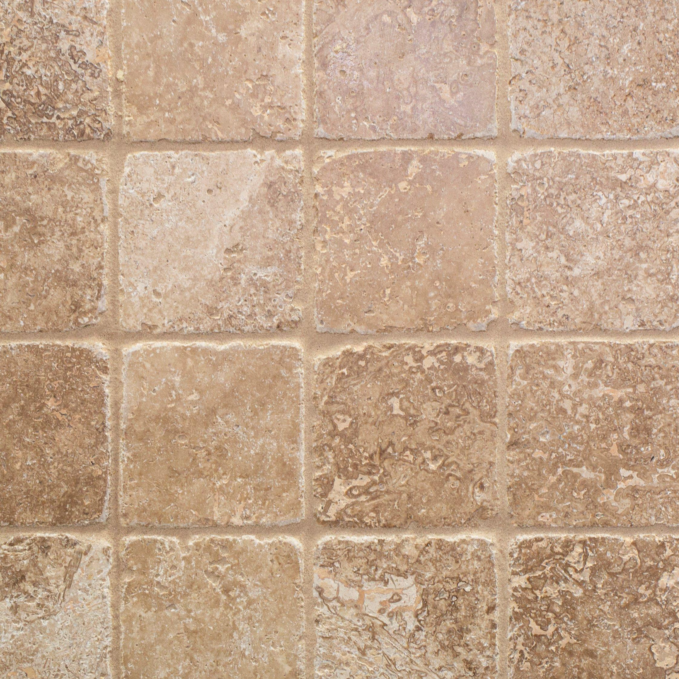 - Noce 4 X 4 Travertine Tumbled Tile