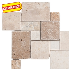 Clearance! Milos Mini Roman Pattern Travertine Mosaic