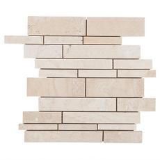 Savona Ivory Brushed Linear Stick Travertine Mosaic