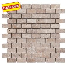 Clearance! Noce Small Brick Travertine Mosaic
