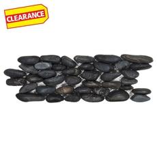 Clearance! Black Stack Matte Pebble Stone Mosaic