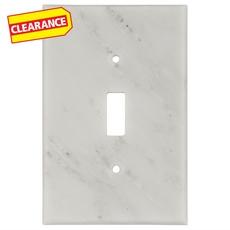 Clearance! Carrara White Marble Single Toggle Switch Plate