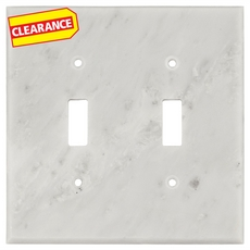 Clearance! Carrara White Marble Double Toggle Switch Plate