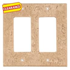 Clearance! Light Beige Travertine Double Rocker Switch Plate