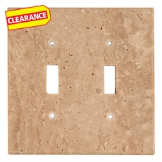 Clearance! Light Beige Travertine Double Toggle Switch Plate