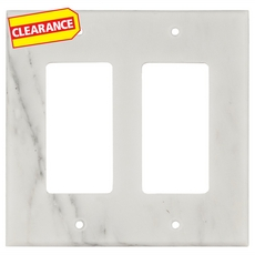 Clearance! Carrara White Marble Double Rocker Switch Plate