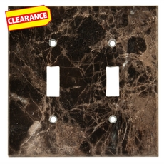 Clearance! Dark Emperador Marble Double Toggle Switch Plate